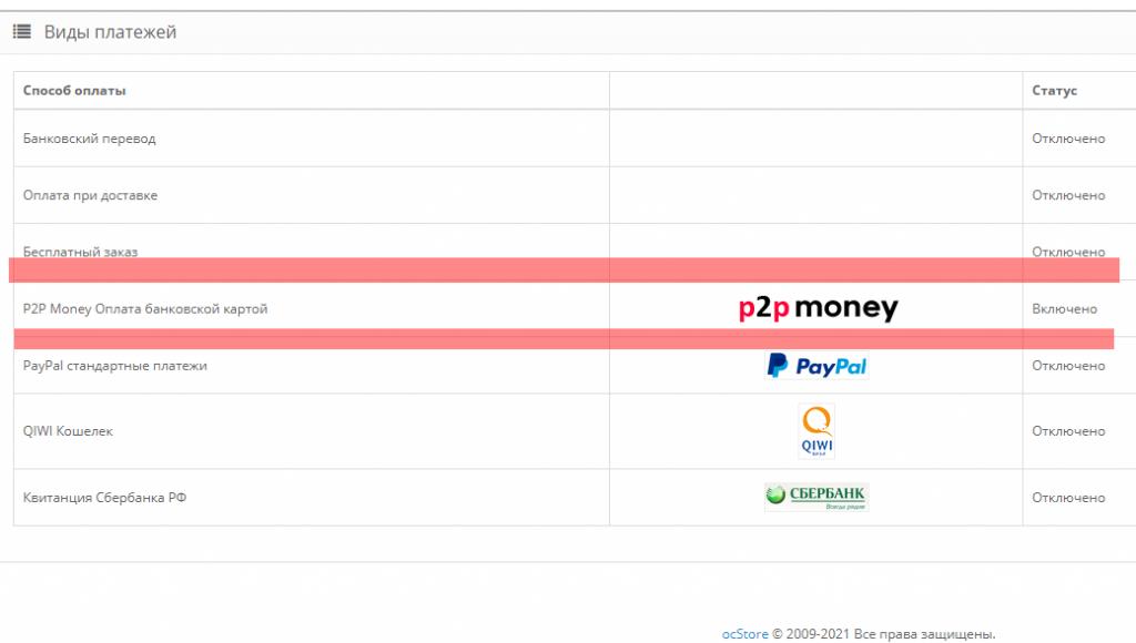 p2p money Opencart 2 ocStore 2 1